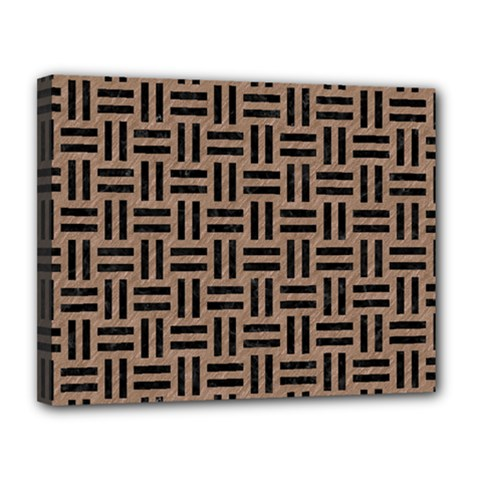 Woven1 Black Marble & Brown Colored Pencil (r) Canvas 14  X 11  (stretched) by trendistuff