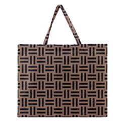 Woven1 Black Marble & Brown Colored Pencil (r) Zipper Large Tote Bag by trendistuff