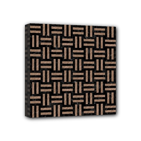 Woven1 Black Marble & Brown Colored Pencil Mini Canvas 4  X 4  (stretched) by trendistuff