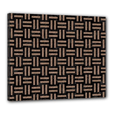 Woven1 Black Marble & Brown Colored Pencil Canvas 24  X 20  (stretched) by trendistuff