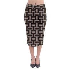 Woven1 Black Marble & Brown Colored Pencil Midi Pencil Skirt by trendistuff