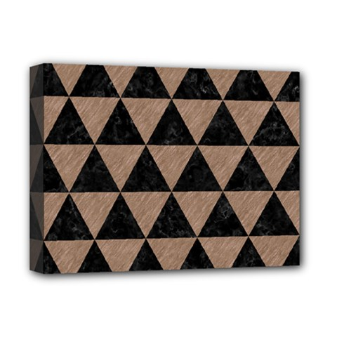 Triangle3 Black Marble & Brown Colored Pencil Deluxe Canvas 16  X 12  (stretched)  by trendistuff