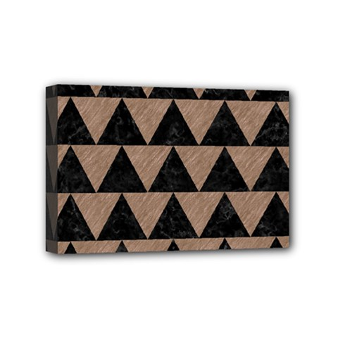 Triangle2 Black Marble & Brown Colored Pencil Mini Canvas 6  X 4  (stretched) by trendistuff