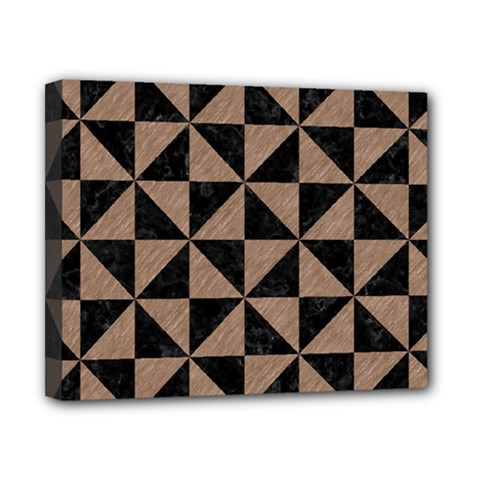 Triangle1 Black Marble & Brown Colored Pencil Canvas 10  X 8  (stretched) by trendistuff