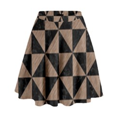 Triangle1 Black Marble & Brown Colored Pencil High Waist Skirt by trendistuff