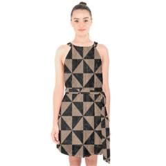 Triangle1 Black Marble & Brown Colored Pencil Halter Collar Waist Tie Chiffon Dress