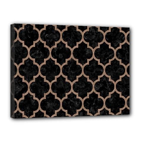 Tile1 Black Marble & Brown Colored Pencil Canvas 16  X 12  (stretched) by trendistuff