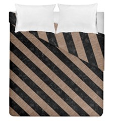 Stripes3 Black Marble & Brown Colored Pencil (r) Duvet Cover Double Side (queen Size) by trendistuff