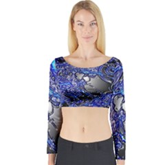 Blue Silver Swirls Long Sleeve Crop Top by LokisStuffnMore