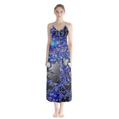 Blue Silver Swirls Button Up Chiffon Maxi Dress by LokisStuffnMore