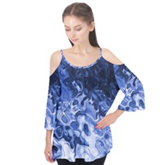 Blue Waves Abstract Art Flutter Tees
