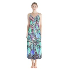 Colored Pencil Tree Leaves Drawing Button Up Chiffon Maxi Dress