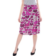 Sparkling Hearts Pink Midi Beach Skirt