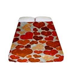 Sparkling Hearts,orange Fitted Sheet (full/ Double Size) by MoreColorsinLife