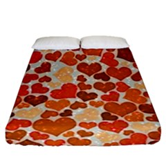 Sparkling Hearts,orange Fitted Sheet (queen Size) by MoreColorsinLife