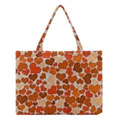 Sparkling Hearts,orange Medium Tote Bag by MoreColorsinLife