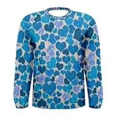 Sparkling Hearts, Teal Men s Long Sleeve Tee