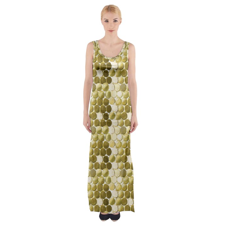 Cleopatras Gold Maxi Thigh Split Dress