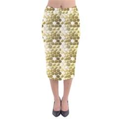 Cleopatras Gold Velvet Midi Pencil Skirt