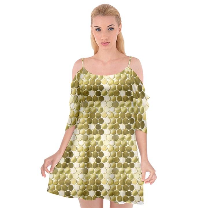 Cleopatras Gold Cutout Spaghetti Strap Chiffon Dress