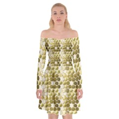 Cleopatras Gold Off Shoulder Skater Dress by psweetsdesign