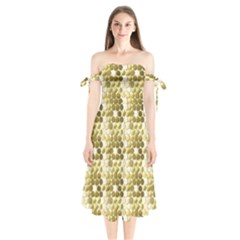 Cleopatras Gold Shoulder Tie Bardot Midi Dress