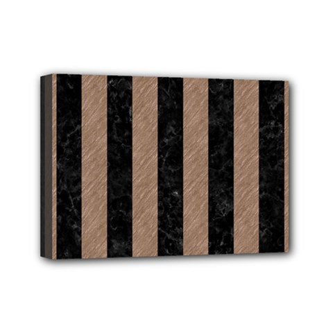 Stripes1 Black Marble & Brown Colored Pencil Mini Canvas 7  X 5  (stretched) by trendistuff
