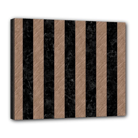 Stripes1 Black Marble & Brown Colored Pencil Deluxe Canvas 24  X 20  (stretched) by trendistuff