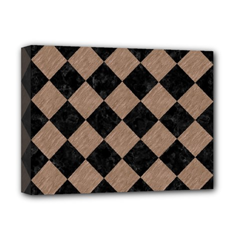Square2 Black Marble & Brown Colored Pencil Deluxe Canvas 16  X 12  (stretched)  by trendistuff