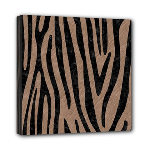 Skin4 Black Marble & Brown Colored Pencil Mini Canvas 8  X 8  (stretched) by trendistuff