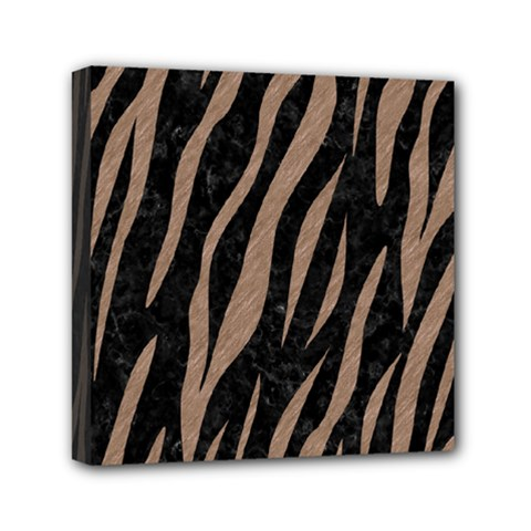 Skin3 Black Marble & Brown Colored Pencil Mini Canvas 6  X 6  (stretched) by trendistuff