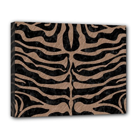 Skin2 Black Marble & Brown Colored Pencil Canvas 14  X 11  (stretched) by trendistuff