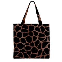 Skin1 Black Marble & Brown Colored Pencil (r) Zipper Grocery Tote Bag by trendistuff