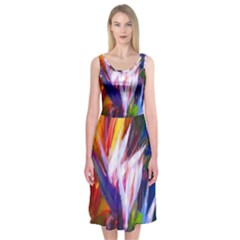 Palms02 Midi Sleeveless Dress