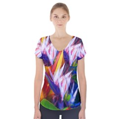 Palms02 Short Sleeve Front Detail Top by psweetsdesign