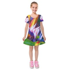 Palms02 Kids  Short Sleeve Velvet Dress by psweetsdesign