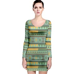 Bezold Effect Traditional Medium Dimensional Symmetrical Different Similar Shapes Triangle Green Yel Long Sleeve Bodycon Dress