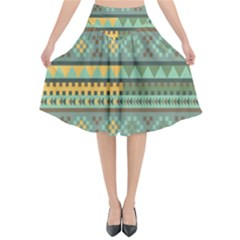 Bezold Effect Traditional Medium Dimensional Symmetrical Different Similar Shapes Triangle Green Yel Flared Midi Skirt by Mariart