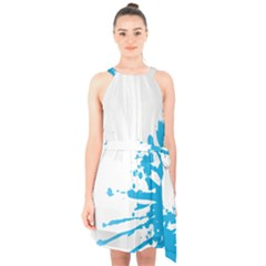 Blue Stain Spot Paint Halter Collar Waist Tie Chiffon Dress