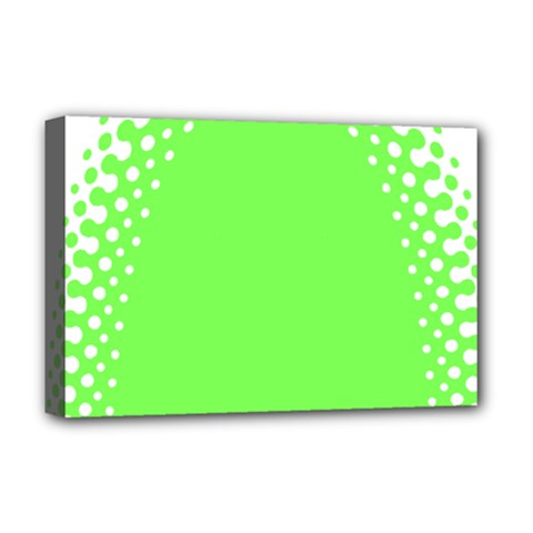 Bubble Polka Circle Green Deluxe Canvas 18  X 12   by Mariart