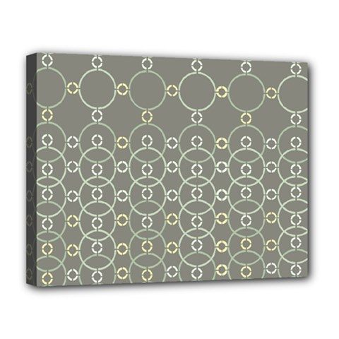 Circles Grey Polka Canvas 14  X 11  by Mariart