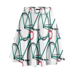 Bicycle Cycling Bike Green Sport High Waist Skirt by Mariart