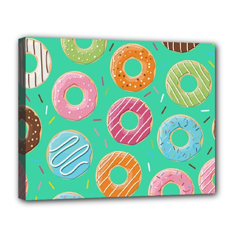 Doughnut Bread Donuts Green Canvas 14  X 11  by Mariart