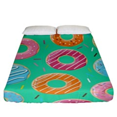 Doughnut Bread Donuts Green Fitted Sheet (king Size) by Mariart