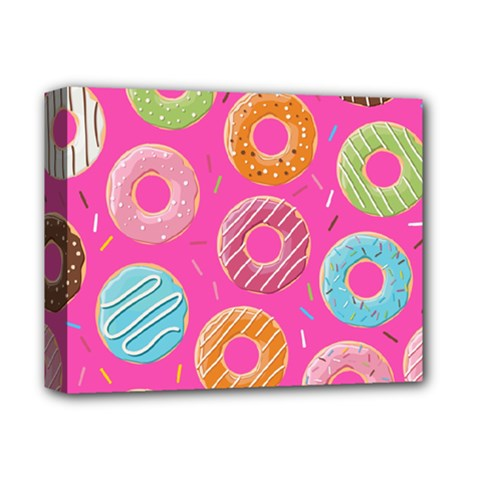 Doughnut Bread Donuts Pink Deluxe Canvas 14  X 11  by Mariart