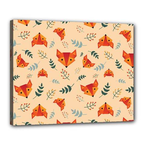 Foxes Animals Face Orange Canvas 20  X 16  by Mariart