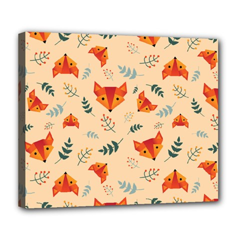 Foxes Animals Face Orange Deluxe Canvas 24  X 20   by Mariart