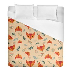 Foxes Animals Face Orange Duvet Cover (full/ Double Size) by Mariart