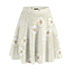 Flower Floral Leaf High Waist Skirt by Mariart