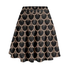 Scales3 Black Marble & Brown Colored Pencil High Waist Skirt by trendistuff